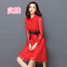 The spring of 2016, The new long lace hollow out dress in women 's clothing han edition cultivate one' s morality