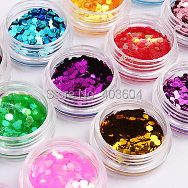 3PCS Hexagonal Glitter Tablets Nail Art Decorations 12-Color(China (Mainland))