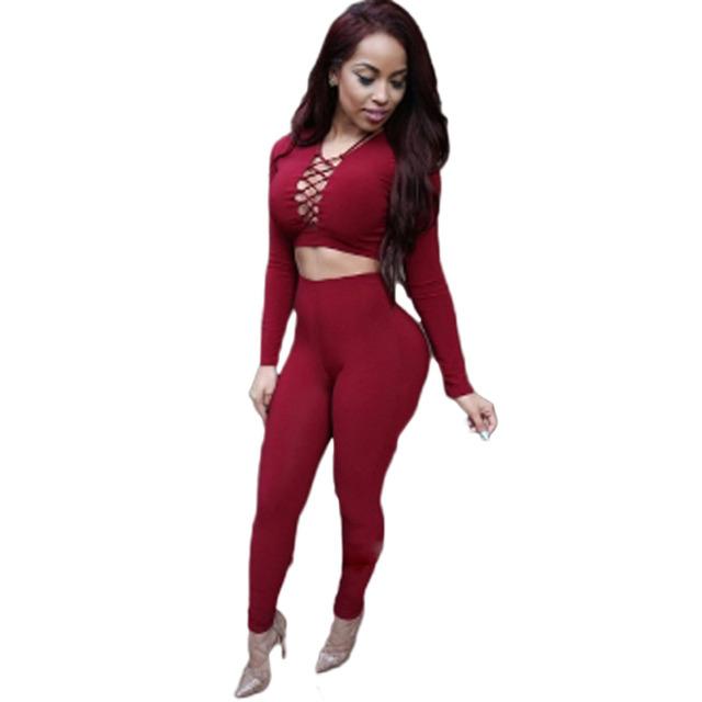Сексуальные клуб комбинезоны 2016 лето осень женщины выдалбливают Bodycon комбинезон и комбинезоны сексуальный красный 2 шт. растениеводство топ с комплект брюки