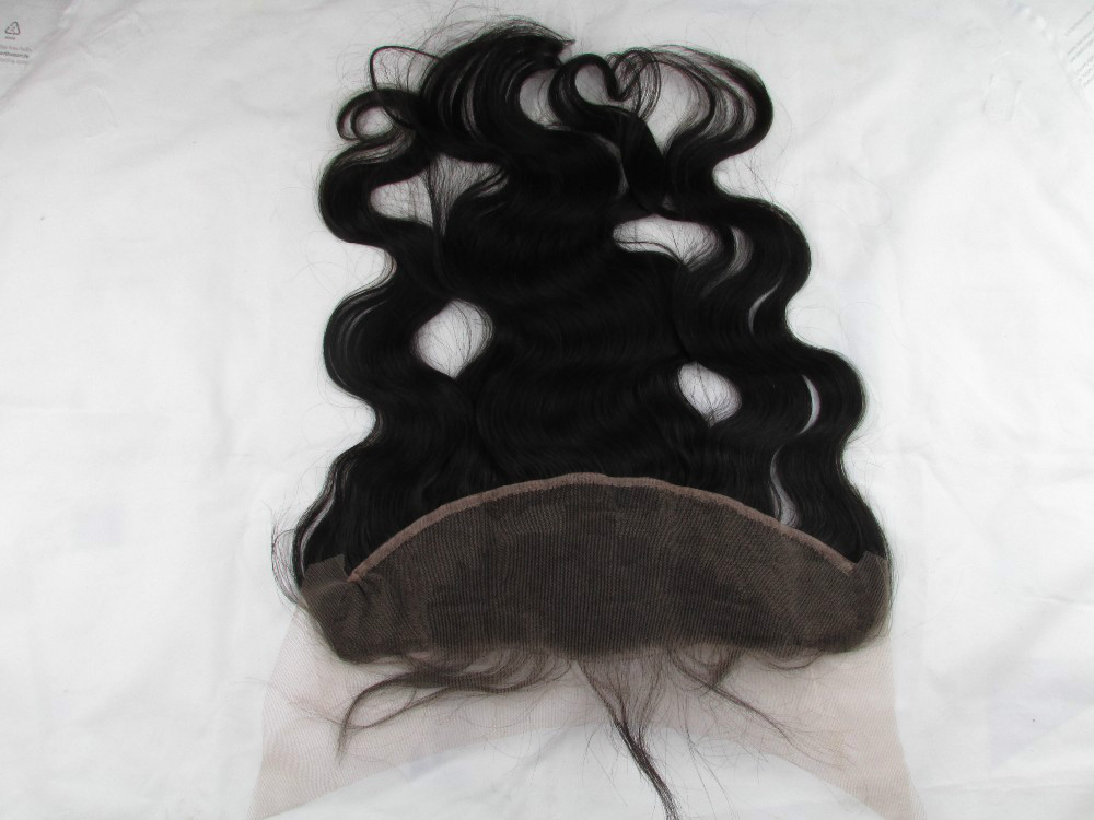 7A Brazilian Virgin Hair Lace Frontal Closure 13x4 With FreeShipping Body Wave Human Hair Ear To Ear Lace Closure Bleached Knots(China (Mainland))