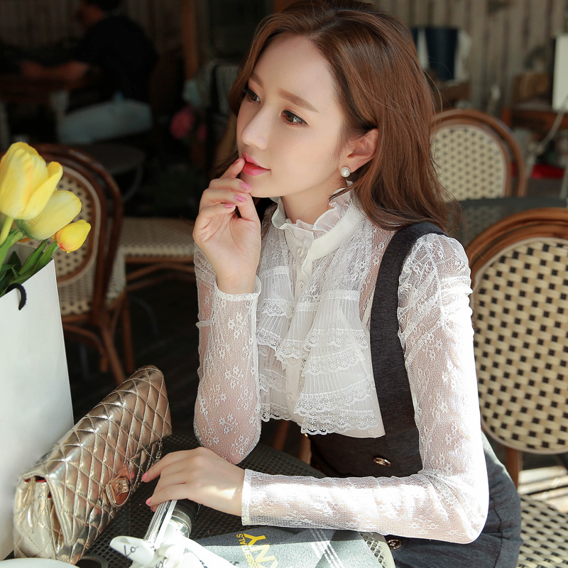Original New 2015 Brand Spring and Autumn Ruffle Slim Sexy Fashion Vintage White Lace Blouses Women Plus Size WholesaleОдежда и ак�е��уары<br><br><br>Aliexpress