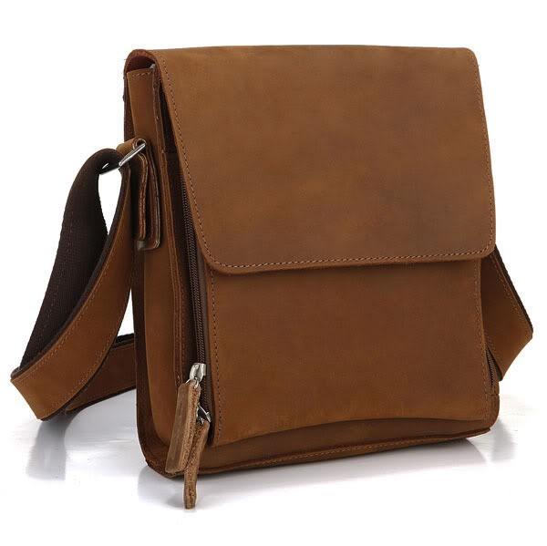 100% Real Genuine Leather bag Crazy Horse Leather Men Messenger Bags Cowhide Casual Men's Travel Bags Shoulder Bag #VP-J7055