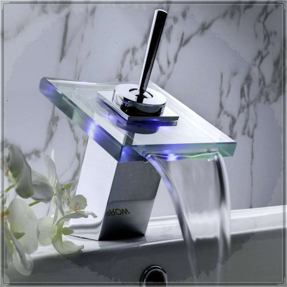 Aa Battery Bathroom Sink Faucet With Led Color Change Contemporary Waterfall Vessel Faucets