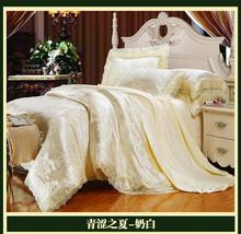Luxury brand white lace satin jacquard bedding comforter set sets king queen size duvet cover bedspread bed in a bag sheet quilt(China (Mainland))