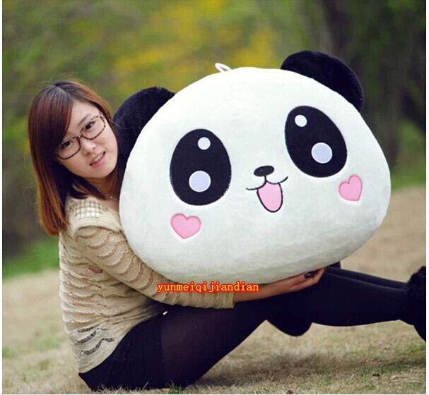 cute lovely huge panda toys lying plush panda toy panda with hearts on face toy soft doll birthday gift about 120cm(China (Mainland))
