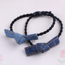 Buy 2017 New Girls Double Knotted Bows Elastic Hair Ties Band Rope Denim Ponytail Holder Headband Women Hair Accessories for $1.25 in AliExpress store