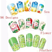 96 Designs Nail Wraps Summer Flower Sea Leopard Peacock Feather Cartoon Full Nail Art Water Decals Nail Transfers