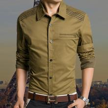 2015 Fashion Brand Men Shirt With Long Sleeve Slim Fit Shirts Men's Dress Casual Cotton Leisure Shirt Korean Style(China (Mainland))