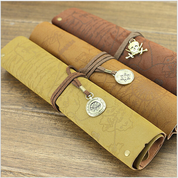 Antique nautical treasure map Stationery Gift fashion roll pencil case Big capacity pencil bag Soft leather Pen boxes<br><br>Aliexpress