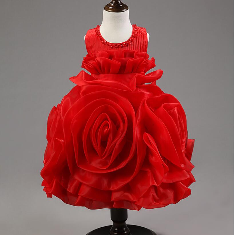 2 10T High Quality Rose Kids Frock Designs Girls Party Bridesmaid Pageant Princess Dress First