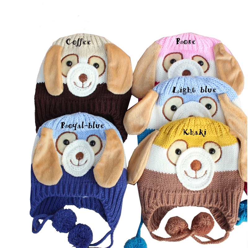 5colors Cute Baby Knitted Beanie Hat Boy Girl Animal Dog Crochet Cap Keep Warm in Winter Baby Cartoon Dog Knit Beanie Cap XM135(China (Mainland))