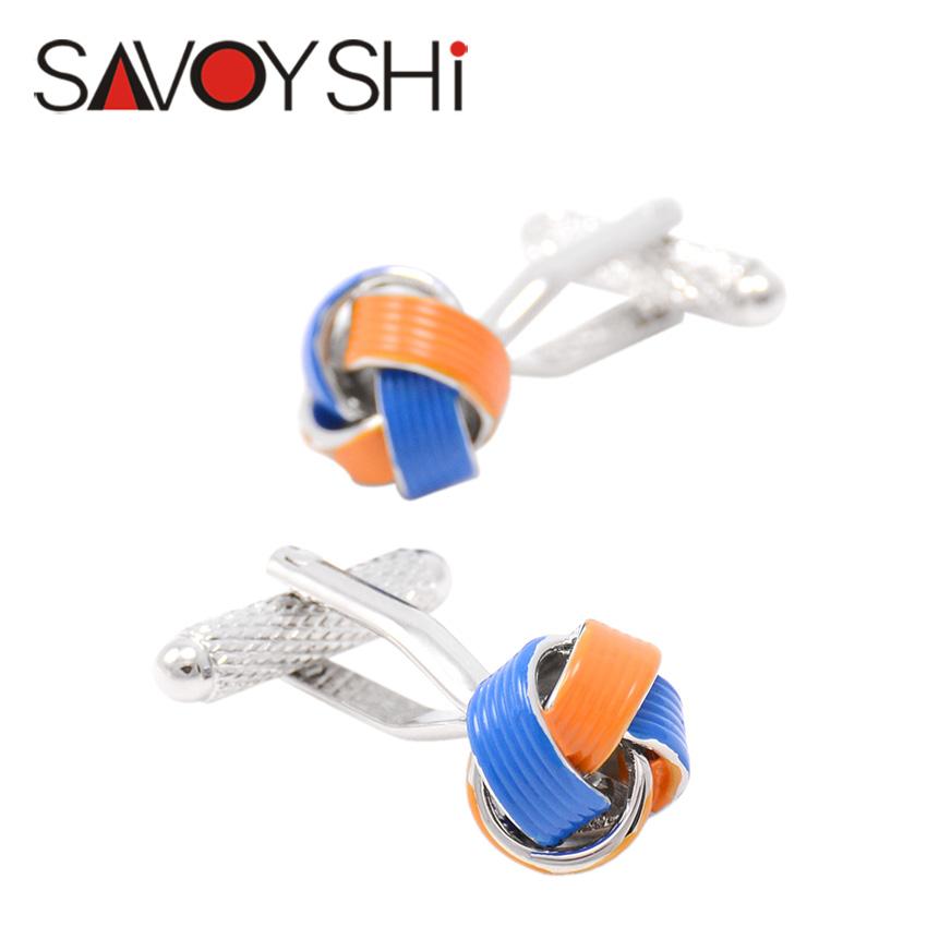 SAVOYSHI Twisted Cufflinks for Mens Enamel Silk Knot Cufflinks High Quality Wedding Cufflinks Cuff Gift Fashion Brand Jewelry(China (Mainland))