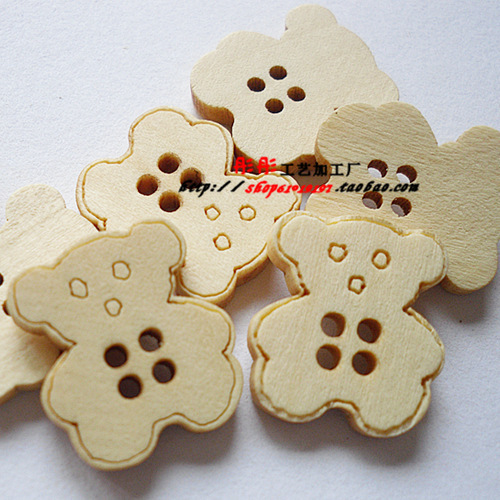 Wholesale cartoon wooden buttons bear four holes wooden buttons 19*17mm 150pcs(China (Mainland))