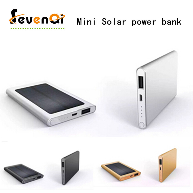 Small Thin Solar Power Bank 5600mAh External Battery Alloy Shell Portable Charger Free Shipping For Mobile Phones Powerbank(China (Mainland))