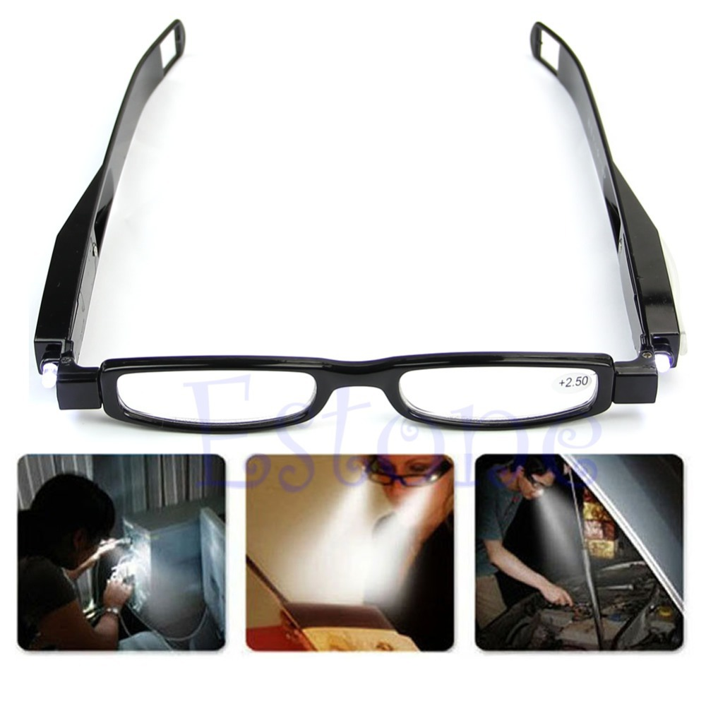 Free Shipping Multi LED Light UP Strength 360 degrees Presbyopia Diopter Eyeglass