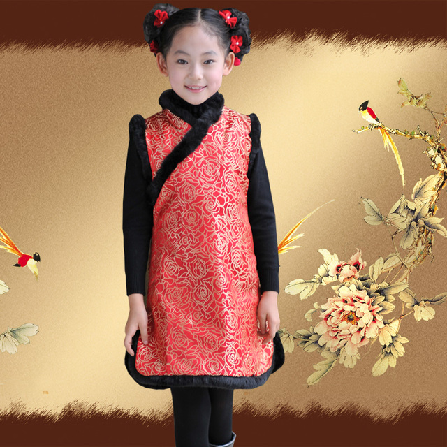 2012 female child tang suit cheongsam female child winter cheongsam red