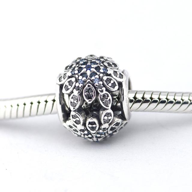 925 серебряные ювелирные изделия бусины кристаллизуется снежинки синие кристаллы CZ бусины Fit подвески пандора браслет DIY мода ювелирных изделий