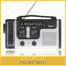 Portable Mini Crank Solar Emergency AM FM SW Shortwave Radio Receiver with Flashlight/ Solar light charger, Free Shipping