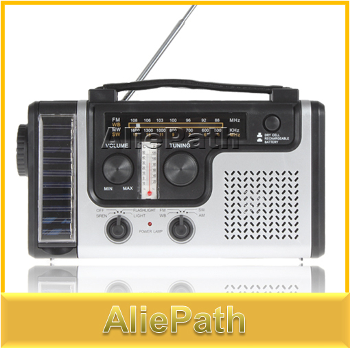 Portable Mini Crank Solar Emergency AM FM SW Shortwave Radio Receiver with Flashlight/ Solar light charger, .
