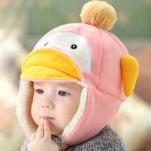 Baby Boys Girls Winter Hat For Children With Ear Flap Cute Penguin Style For Kids Very Warm Big Bobble Cap(China (Mainland))