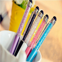 Cute Crystal pen Diamond ballpoint pens Stationery ballpen 2 in 1 crystal stylus pen touch pen more color for choose(China (Mainland))