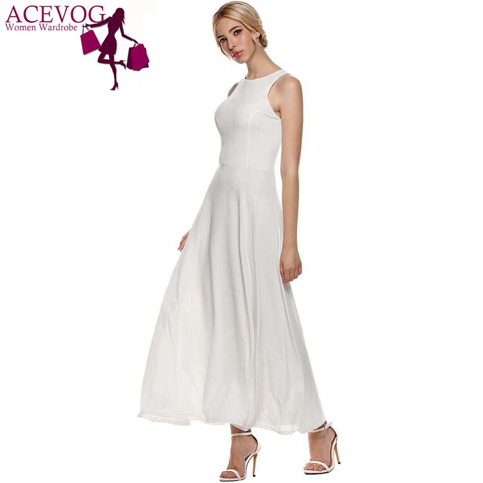 ACEVOG Summer Casual Tunic Dress Women Sleeveless Long Evening Party Dress Full Gown Vestido De Festa With Necklace(China (Mainland))