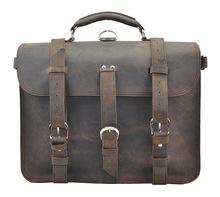 100% Imported Genuine Crazy Horse Cowhide Leather Men's Handbag Messenger Shoulder Bags Breifcase For Men traveling 16 inch(China (Mainland))