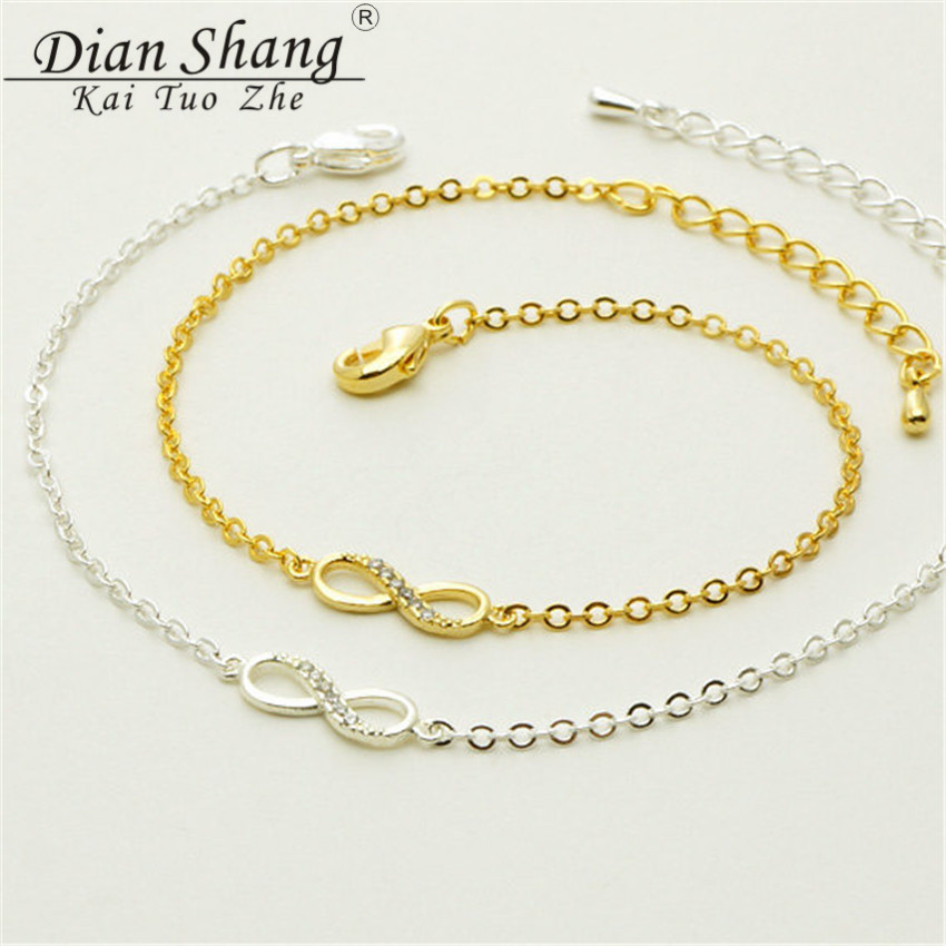 DIANSHANGKAITUOZHE 12016 Infinity Statement Bracelets Bangle Women Fashion Jewelry Crystal Gold Silver Plated Chain Pulsera - Show store