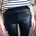 2016 Spring New Women Korean Waist Knitted Black PU Leather Leggings Push Up Matte Soft Light