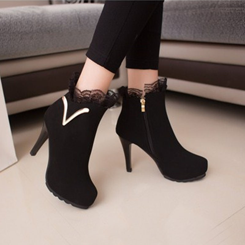 2015 Autumn Hot Fshion Foreign trade V word Lace Fine High-heeled Zipper Women's High heels Boots Low Price O248(China (Mainland))