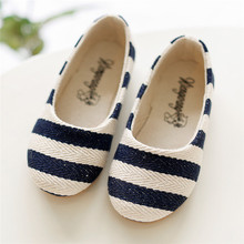 Summer  Girls Plain Strip Sandals Canvas Striped Girls Shoes for Children Slip-on Shoes (China (Mainland))