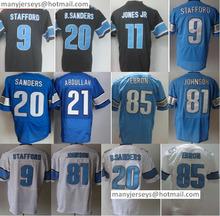 Hot Sale Men's 9 Matthew Stafford 20 Barry Sanders 81 Johnson 85 Eric Ebron 21 Ameer Abdullahs Black Blue White(China (Mainland))