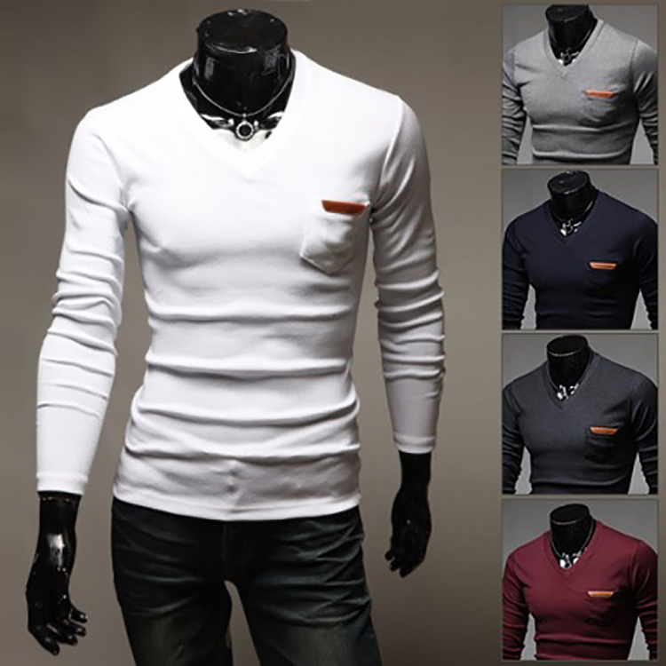 2015 wholesale long sleeve t shirt men solid v neck for Mens long sleeve t shirts sale