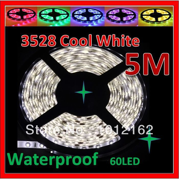 Free Shipping Powered 5M/Roll 3528 Cool White DMX 300Leds Flexible Waterproof SMD String Lamparas De Led Lighting Neon Led Strip(China (Mainland))