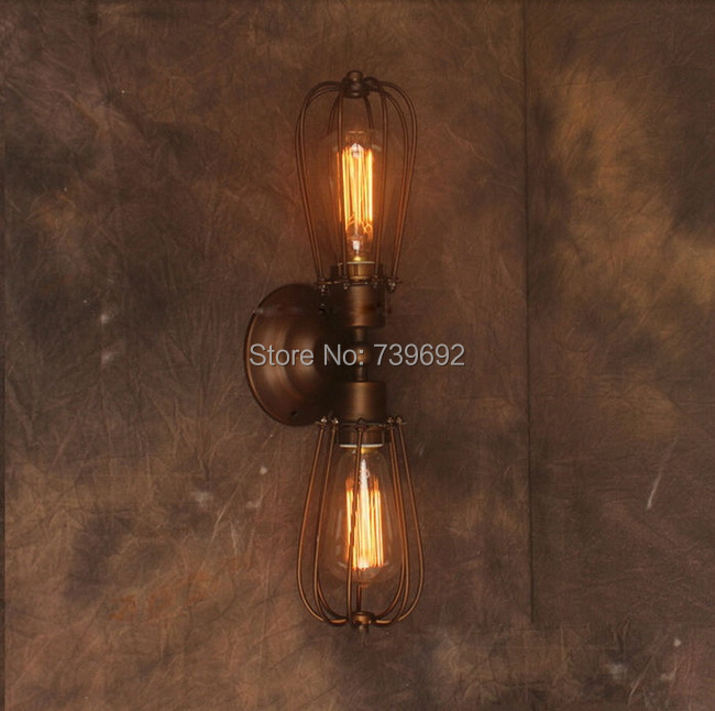 RH loft Retro Wall Lamp For Bedroom Bedside Adjustable Wall Mount 2 Arms Lamp industrial lights for home,bar decor.