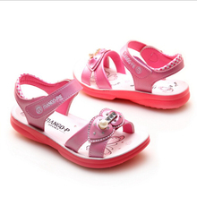 2016 summer new children's shoes girls slip-resistant leathe princess sandals with diamond kids casual sandals