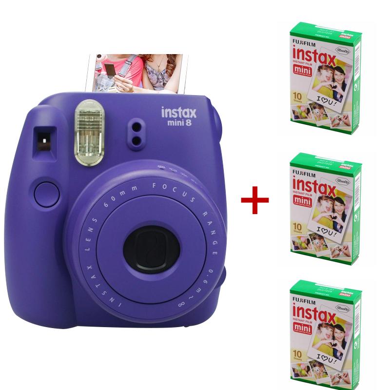 Fuji Instax Mini 8 Camera Mix Color Instant Fujifilm Photo + 3 Packs (30 sheets) Plain Edge Film - Guangzhou Etoplink Co., Ltd store
