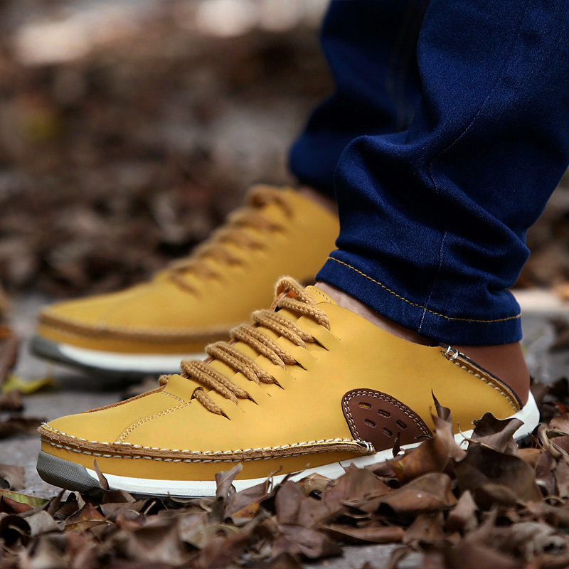 2016 Brand New Mens Flats Spring autumn Men's Casual Shoes Cow Split Leather Handmade Man Sapatos Social Shoes Zapatos Scarpe(China (Mainland))