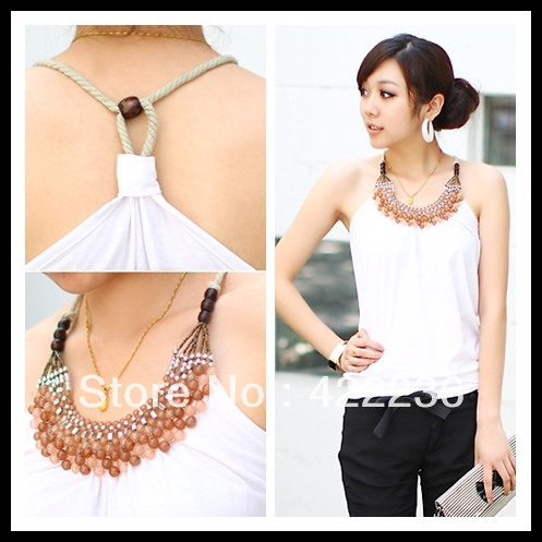 2 Summer women's fashion tanks cotton tops beading necklace spaghetti strap suspenders cute Vest multi colors Camis(China (Mainland))