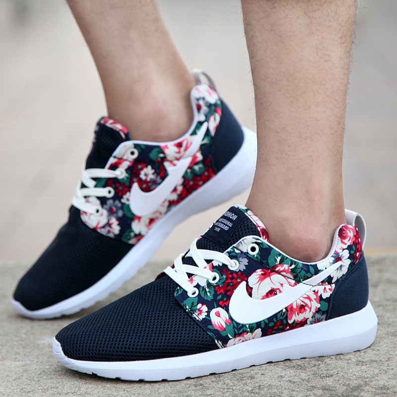 2015 New Design Flower Roshelis Trainers Women Men Sport Shoes Hot Sale London Mesh Sports Sneakers Breathable Shoes 36-44(China (Mainland))