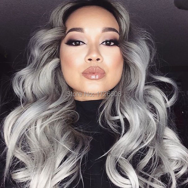 Royal 1PC Gray Clip in Hair Weaving Curly Grey Gradient Hair Extensions Full Head Cosplay Synthetic Hairpiece Hair Accessories(China (Mainland))