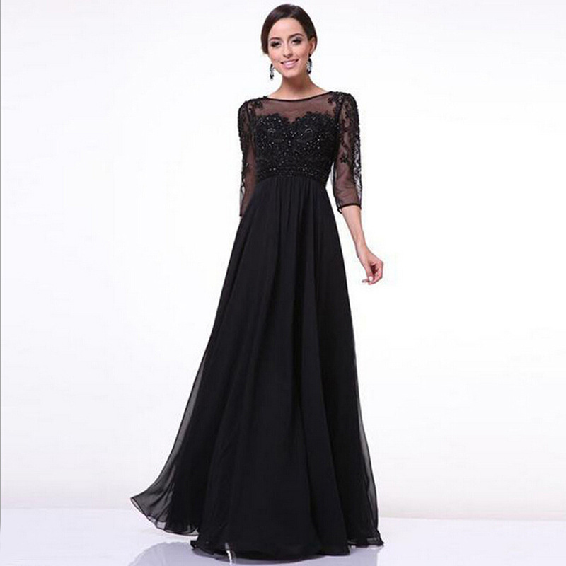 Vestidos De Festa 2016 Women Party Dresses Elegant Black Lace Summer Evening Maxi Long Dress Fashion Ladies Formal Prom Clothes(China (Mainland))
