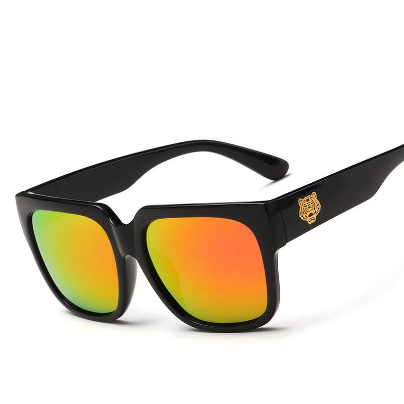 Polarized Tiger Head Square Reflective Sunglasses Women&Men Mirror Sun Glasses Brand Design Uv400 With Original Box Oculos(China (Mainland))