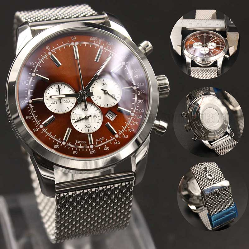 Wholesale - Promotions Luxury AAA quality quartz chronograph men's watch stainless steel mesh belt and 45mm dial(China (Mainland))