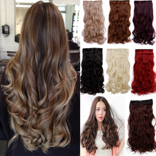 5 clips in Hair Extensions Brown Black Blonde synthetic Hair Extension Long(China (Mainland))