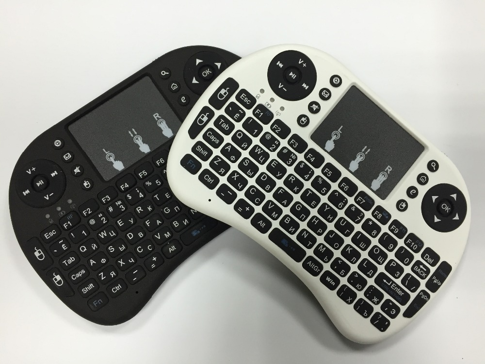 mini Black and white computer QWERTY English Russian keyboard gaming wireless keyboard with touchpad for PC Android TV Box IPTV(China (Mainland))