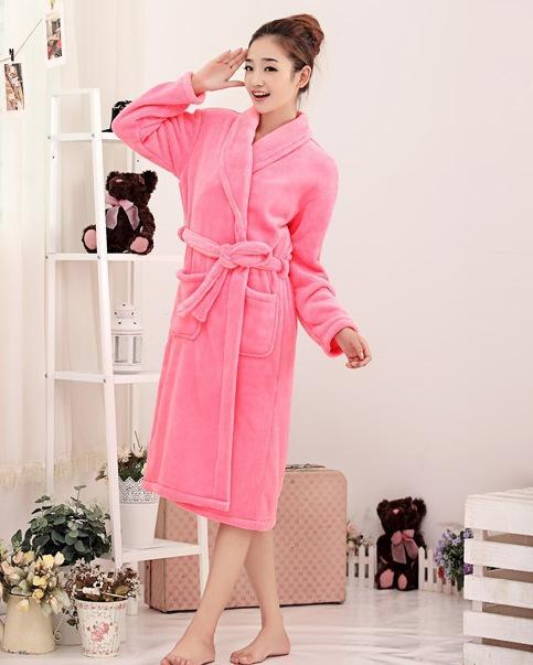 Женщины цвета зима длинная корал-флис халаты мужчины халат унисекс длинная ночь gowns влюблённые пижама воротник-шалька ремень длинная