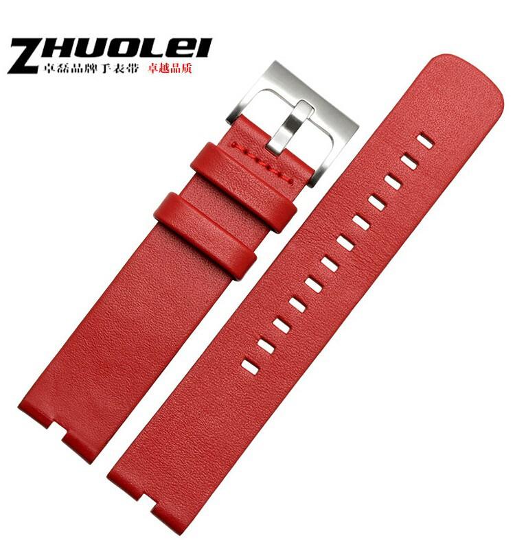 ถูก ดูวง22มิลลิเมตรสีแดง100% Leaherแท้Watch Bandsวงสายสร้อยข้อมือสำหรับMotorola Moto 360สมาร์ทดู