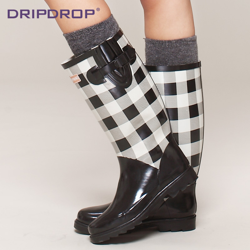 Fashion Solide Color Plaid Women Rubber Rain Boots High Womens Rainboots Water ShoesRubber knee-high riding boots for women<br><br>Aliexpress