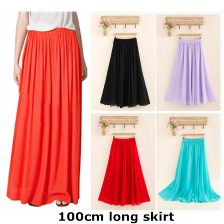 Cheap price High quality Fashion Female Skirt Candy Color Dropped Elastic Waist Chiffon Full Long Maxi Skirts For Women 100cm(China (Mainland))